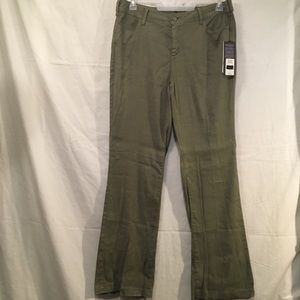 Linen Olive Green Trouser Wide Leg Pants NYDJ 12